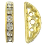 Rhinestone Spacers, Moon, Crystal, 7x19x3.50mm, Hole:Approx 1mm, 300PCs/Bag, Sold By Bag