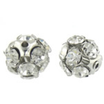 Rhinestone Jewelry Beads, Brass, Round, platinum color plated, with A grade rhinestone, 11x11mm, Hole:Approx 1.2mm, 100PCs/Bag, Sold By Bag