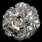 مجوهرات حجر الراين الخرز, النحاس, جولة, لون البلاتين مطلي, مع حجر الراين الصف, 16x16mm, حفرة:تقريبا 2mm, 30أجهزة الكمبيوتر/حقيبة, تباع بواسطة حقيبة