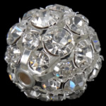 Rhinestone Jewelry Beads, Brass, Round, platinum color plated, with A grade rhinestone, 20x20mm, Hole:Approx 2.8mm, 20PCs/Bag, Sold By Bag