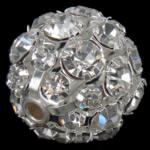 مجوهرات حجر الراين الخرز, النحاس, جولة, لون البلاتين مطلي, مع حجر الراين الصف, 20x20mm, حفرة:تقريبا 2.8mm, 20أجهزة الكمبيوتر/حقيبة, تباع بواسطة حقيبة