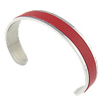 316L Stainless Steel Cuff Bangle with Cowhide red 11.5mm 62.5x43mm Length:Approx 7.7 Inch