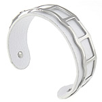 316L Stainless Steel Cuff Bangle with Cowhide white 19mm 62.5x48mm Length:Approx 7.8 Inch