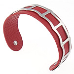 316L Stainless Steel Cuff Bangle, with Cowhide, red, 19mm, 62.5x48mm, Length:Approx 7.8 Inch, Sold By PC