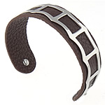316L Stainless Steel Cuff Bangle with Cowhide coffee color 19mm 62.5x48mm Sold Per Approx 7.8 Inch Strand