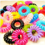 Hair Elastic, plastic, telephone line tie, mixed color, 35-40mm, 100PCs/Bag, Sold by Bag