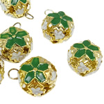 Iron Bell Pendants, Round, enamel, mixed colors, nickel, lead & cadmium free, 22x18x15mm, Hole:Approx 4.5mm, 100PCs/Bag, Sold by Bag
