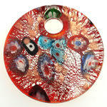 Millefiori Slice Lampwork Pendants, Coin, gold sand and silver foil, 50x10mm, Hole:Approx 9mm, 10PCs/Bag, Sold By Bag