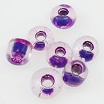 Szklane koraliki z kolorowa linią, Koraliki szklane, Okrąg, Pokryte kolorem, fioletowy, 2x1.90mm, otwór:około 1mm, sprzedane przez torba