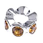 Zinc Alloy Spacer Beads Rondelle with rhinestone nickel lead   cadmium free 12x5mm Hole:Approx 5mm 10PCs/Bag