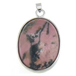Natural Rhodonite Pendant, Oval, with brass pendant setting, 27x44x10mm, Hole:Approx 6.3x4.5mm, 10PCs/Bag, Sold by Bag