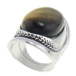Natural Gemstone Finger Ring Tiger Eye with Zinc Alloy 20x37mm 18.5mm US Ring Size:8 10PCs/Bag