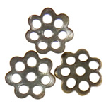 Iron Bead Caps, Flower, 7-petals, antique bronze color, nickel, lead & cadmium free, 6x1mm, Hole:Approx 1mm, 10000PCs/Bag, Sold by Bag