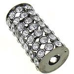 مجوهرات حجر الراين الخرز, النحاس, عمود, plumbum اللون الأسود مطلي, مع حجر الراين & أجوف, 32.50x15mm, حفرة:تقريبا 6mm, 20أجهزة الكمبيوتر/حقيبة, تباع بواسطة حقيبة