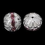 Ontto Brass Helmet, Messinki, Pyöreä, hopea päällystetty, tekojalokivi, nikkeli, lyijy ja kadmium vapaa, 16x17mm, Reikä:N. 2.2mm, 100PC/laukku, Myymät laukku