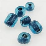 Szklane koraliki z kolorowa linią, Koraliki szklane, niebieski, 3x3.60mm, otwór:około 1mm, sprzedane przez torba