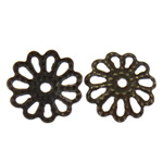 Iron Bead Caps, Flower, 7-petals, antique bronze color, nickel, lead & cadmium free, 9x1mm, Hole:Approx 1mm, 10000PCs/Bag, Sold by Bag