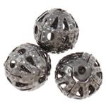 Żelazne koraliki, żelazo, Koło, Platerowane plombem w czarnym kolorze, bez zawartości niklu, ołowiu i kadmu, 6mm, otwór:około 0.7mm, około 500komputery/torba, sprzedane przez torba