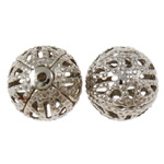 Iron Jewelry Beads, Round, platinum color plated, hollow, nickel, lead & cadmium free, 10mm, Hole:Approx 1mm, Approx 200PCs/Bag, Sold By Bag