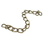 Żelazne przedłużenie łańcuszka, żelazo, Owal, Platerowane kolorem starego brązu, bez zawartości niklu, ołowiu i kadmu, 4x5.50x0.60mm, długość:2.76 cal, około 200nici/torba, sprzedane przez torba