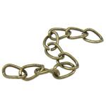 Żelazne przedłużenie łańcuszka, żelazo, Owal, Platerowane kolorem starego brązu, bez zawartości niklu, ołowiu i kadmu, 3.50x5.50x0.60mm, długość:2 cal, około 300nici/torba, sprzedane przez torba