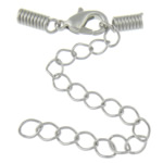 Brass Lobster Claw Cord Clasp, platinum color plated, with cord coil, nickel, lead & cadmium free, 10x4mm, 3mm, 200Sets/Lot, Sold By Lot