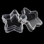Szkatułka na koraliki, Plastik, Gwiazdka, prześwitujący, biały, 36x34.50x15.50mm, sprzedane przez PC