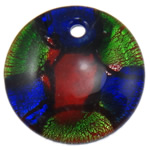 Silver Foil Lampwork Pendants, Coin, 45.50x10.50mm, Hole:Approx 5.5mm, 10PCs/Bag, Sold By Bag