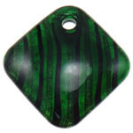 Silver Foil Lampwork Pendants, Rhombus, green, 50x50.50x11mm, Hole:Approx 5.5mm, 10PCs/Bag, Sold By Bag