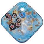 Millefiori Slice Lampwork Pendants, Rhombus, gold sand, blue, 50x50.50x11mm, Hole:Approx 5.5mm, 10PCs/Bag, Sold By Bag