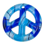 Silver Foil Lampwork Pendants, Flat Round, blue, 49x7mm, Hole:Approx 3.5mm, 10PCs/Bag, Sold By Bag