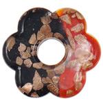 Wisiorek ze szkła ze złotym piaskiem, Lampwork, Kwiat, Dwukolorowe & złoty piasek, 55x8mm, otwór:około 14.5mm, 10komputery/torba, sprzedane przez torba