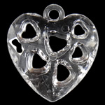 Acrylic Pendants, Heart, translucent, 24.50x26.50x7mm, Hole:Approx 3mm, Approx 380PCs/Bag, Sold By Bag