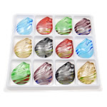 Silver Foil Lampwork Pendants, Teardrop, mixed colors, 41.50x49x7.80mm, Hole:Approx 11x10mm, 12PCs/Box, Sold By Box