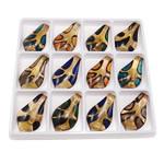الذهب الرمل المعلقات امبورك, ورق, الرمال الذهبية, الألوان المختلطة, 62x35x8mm, حفرة:تقريبا 9x6mm, 12أجهزة الكمبيوتر/مربع, تباع بواسطة مربع