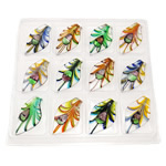 Dichroic Glass Pendants, Leaf, mixed colors, 59.50x33x12mm, Hole:Approx 8mm, 12PCs/Box, Sold By Box
