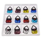 Ciondoli in vetro lavorato alla moda, Borsetta, colori misti, 46.50x31x14mm, Foro:Appross. 17x14mm, 12PC/scatola, Venduto da scatola