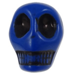 Antyczne koraliki akrylowe, Akryl, Czaszka, Nieprzejrzysty, imitacja antycznego, niebieski, 12.50x10x12mm, otwór:około 2mm, 595komputery/torba, sprzedane przez torba