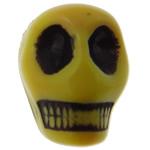 Antyczne koraliki akrylowe, Akryl, Czaszka, Nieprzejrzysty, imitacja antycznego, żółty, 12.50x10x12mm, otwór:około 2mm, 595komputery/torba, sprzedane przez torba