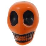 Antyczne koraliki akrylowe, Akryl, Czaszka, Nieprzejrzysty, imitacja antycznego, pomarańczowy, 14x18x17.50mm, otwór:około 2.8mm, 187komputery/torba, sprzedane przez torba