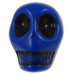 Antyczne koraliki akrylowe, Akryl, Czaszka, Nieprzejrzysty, imitacja antycznego, niebieski, 14x18x17.50mm, otwór:około 2.8mm, 187komputery/torba, sprzedane przez torba