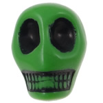 Antique Acrylic Beads, Skull, opaque, Imitation Antique, green, 14x18x17.50mm, Hole:Approx 2.8mm, 187PCs/Bag, Sold By Bag