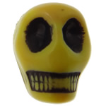 Antique Acrylic Beads, Skull, opaque, Imitation Antique, yellow, 14x18x17.50mm, Hole:Approx 2.8mm, 187PCs/Bag, Sold By Bag