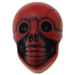 Antyczne koraliki akrylowe, Akryl, Czaszka, Nieprzejrzysty, imitacja antycznego, czerwony, 19x14x11mm, otwór:około 2.5mm, 330komputery/torba, sprzedane przez torba