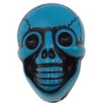 Antyczne koraliki akrylowe, Akryl, Czaszka, Nieprzejrzysty, imitacja antycznego, niebieski, 25.50x17.50x14mm, otwór:około 2.5mm, 150komputery/torba, sprzedane przez torba