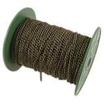Żelazny drut na pętli, żelazo, Owal, Platerowane kolorem starego brązu, bez zawartości niklu, ołowiu i kadmu, 3.70x5x0.90mm, długość:50 m, sprzedane przez PC