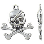 Zinc Alloy Skull Pendants, antique silver color plated, Imitation Antique, nickel, lead & cadmium free, 21.50x23x3.50mm, Hole:Approx 2mm, Approx 363PCs/KG, Sold By KG