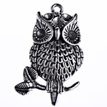Zinc Alloy Pendant Rhinestone Setting, Owl, antique silver color plated, lead & cadmium free, 41.50x25.50x5.80mm, Hole:Approx 2.5mm, Approx 145PCs/KG, Sold By KG