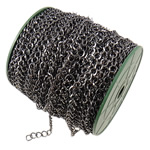 Iron Rhombus Chain, plumbum black color plated, nickel, lead & cadmium free, 7.40x8.40x1.20mm, Length:50 m