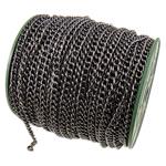 Żelazny drut na pętli, żelazo, Owal, Platerowane plombem w czarnym kolorze, bez zawartości niklu, ołowiu i kadmu, 5.90x7.50x1.40mm, długość:50 m